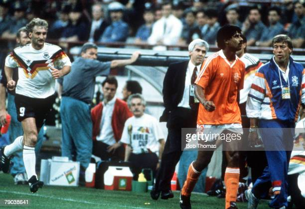 World Cup Finals Second Phase Milan Italy 24th June West Germany 2 v Holland 1 West Germany's Rudi Voeller and Holland's Frank Rijkaard both head...