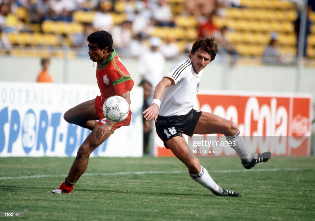 1986 World Cup Finals. Second Phase. Monterrey, Mexico. 17th June, 1986. West Germany 1 v Morocco 0 Morocco's Labd Khalifa battles for the ball with West Germany's Klaus Allofs. : News Photo