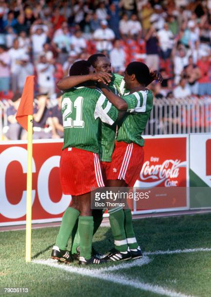 World Cup Finals Second Phase Naples Italy 23rd June Cameroon 2 v Colombia 1 Cameroon players celebrate the winning goal as they hug each other by...