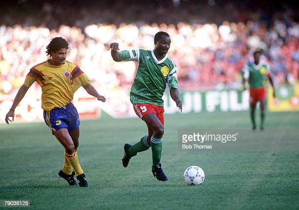 World Cup Finals Second Phase Naples Italy 23rd June Cameroon 2 v Colombia 1 Cameroon's Roger Milla moves away from Colombia's Gildardo Gomez with...