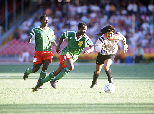 Image result for 1990 world cup cameroon colombia