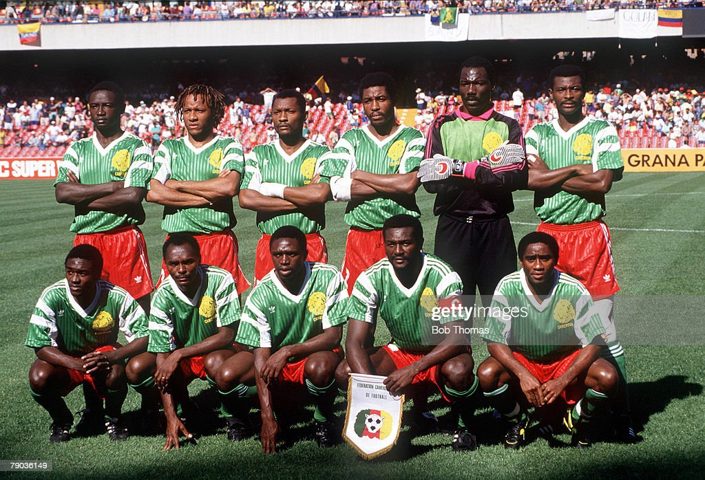 1990 World Cup Finals. Second Phase. Naples, Italy. 23rd June, 1990. Cameroon 2 v Colombia 1. Cameroon pose for a team group before the match. : News Photo