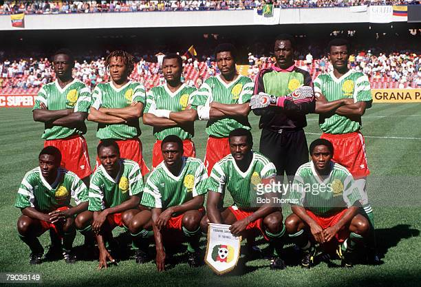 World Cup Finals Second Phase Naples Italy 23rd June Cameroon 2 v Colombia 1 Cameroon pose for a team group before the match