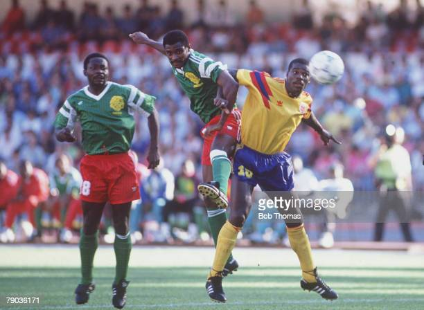 World Cup Finals Second Phase Naples Italy 23rd June Cameroon 2 v Colombia 1 Colombia's Luis Perea challenges Cameroon's Oman Biyick for the ball