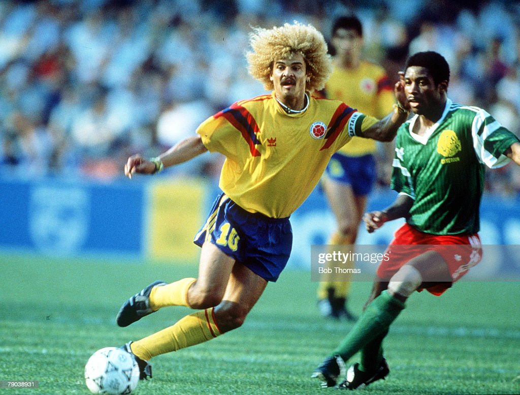 1990 World Cup Finals. Second Phase. Naples, Italy. 23rd June, 1990. Cameroon 2 v Colombia 1. Colombia's Carlos Valderrama on the ball. : News Photo