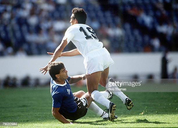 World Cup Finals Second Phase Puebla Mexico 16th June Argentina 1 v Uruguay 0 Argentina's Jose Luis Brown brings down Uruguay's Venancio Ramos