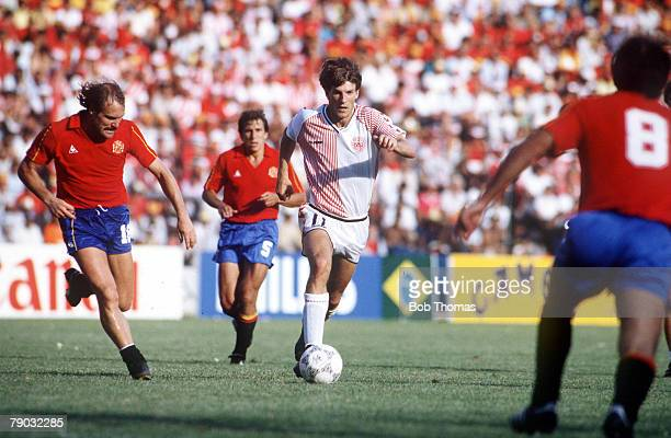 World Cup Finals Second Phase Queretaro Mexico 18th June Spain 5 v Denmark 1 Denmark's Michael Laudrup on the ball