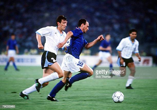World Cup Finals Second Phase Rome Italy 25th June Italy 2 v Uruguay 0 Italy's Salvatore Schillaci moves past Uruguay's Nelson Gutierrez with the ball