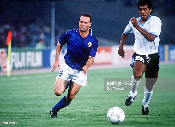 World Cup Finals Second Phase Rome Italy 25th June Italy 2 v Uruguay 0 Italy's Salvatore Schillaci chases after the ball with Uruguay's Ruben Pereira