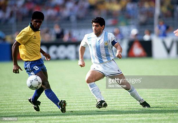 World Cup Finals Second Phase Turin Italy 24th June Argentina 1 v Brazil 0 Argentina's Diego Maradona is challenged for the ball by Brazil's Valdo