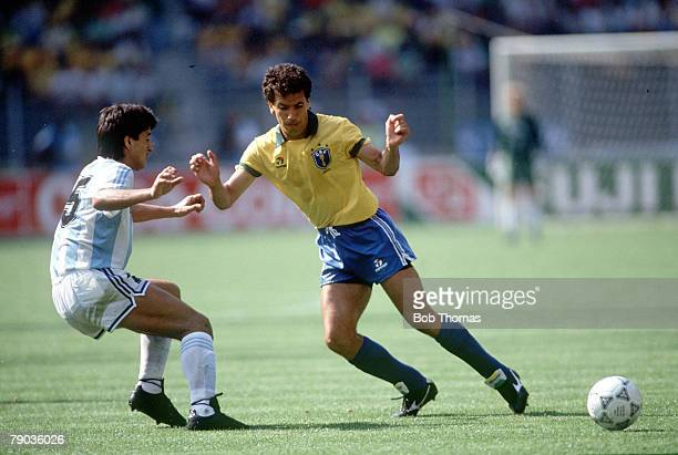 World Cup Finals Second Phase Turin Italy 24th June Argentina 1 v Brazil 0 Argentina's Pedro Monzon challenges Brazil's Careca for the ball