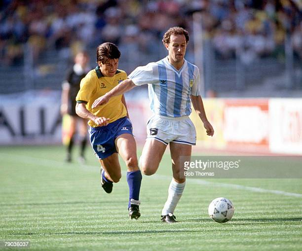 World Cup Finals, Second Phase, Turin, Italy, 24th June Argentina 1 v Brazil 0, Argentina's Gabriel Calderon moves away from Brazil's Dunga with the...