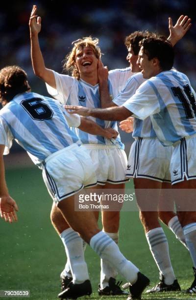 World Cup Finals Second Phase Turin Italy 24th June Argentina 1 v Brazil 0 Argentina's Claudio Caniggia celebrates with teammates after scoring the...
