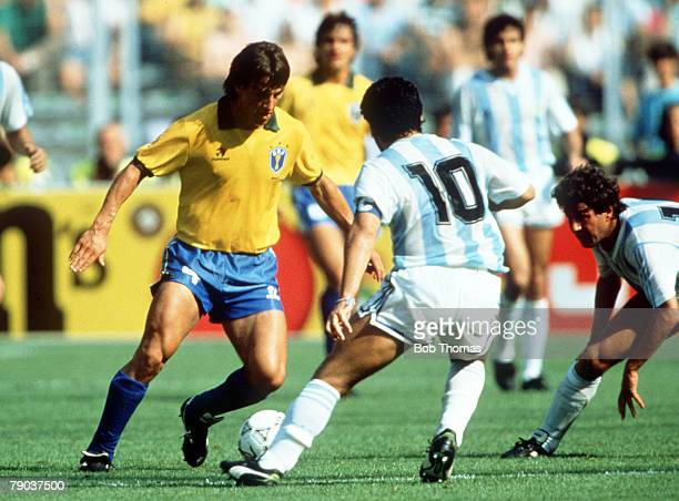 World Cup Finals Second Phase Turin Italy 24th June Argentina 1 v Brazil 0 Brazil's Dunga on the ball faced by Argentina's Diego Maradona