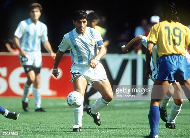 World Cup Finals Second Phase Turin Italy 24th June Argentina 1 v Brazil 0 Argentina's Diego Maradona on the ball
