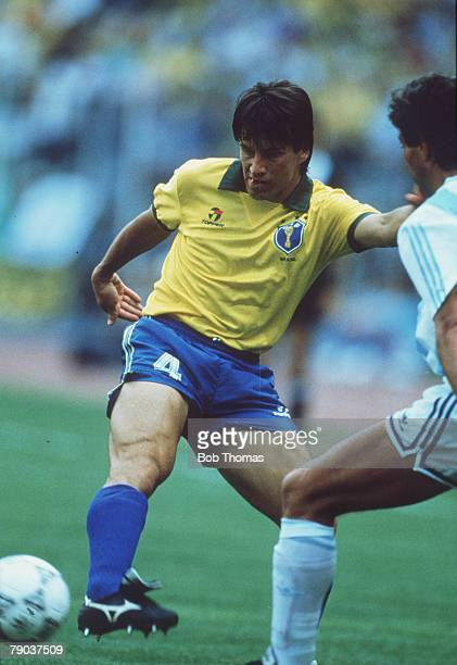 World Cup Finals, Second Phase, Turin, Italy, 24th June Argentina 1 v Brazil 0, Brazil's Dunga on the ball