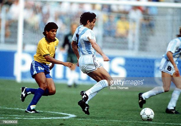 World Cup Finals Second Phase Turin Italy 24th June Argentina 1 v Brazil 0 Argentina's Jorge Burruchaga is chased for the ball by Brazil's Silas