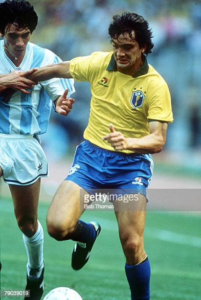 World Cup Finals Second Phase Turin Italy 24th June Argentina 1 v Brazil 0 Brazil's Branco is challenged for the ball by Argentina's Horacio Basualdo