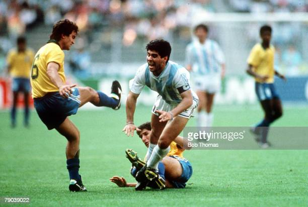 World Cup Finals Second Phase Turin Italy 24th June Argentina 1 v Brazil 0 Argentina's Diego Maradona is fouled by Brazil's Jorginho