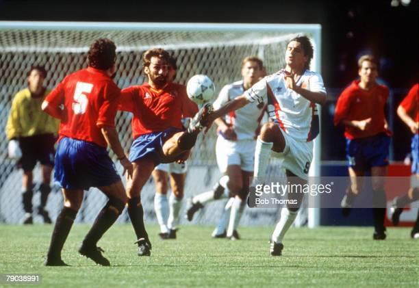 World Cup Finals Second Phase Verona Italy 25th June Yugoslavia 2 v Spain 1 Spain's Martin Vazquez battles for the ball with Yugoslavia's Darko Pancev