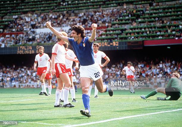 World Cup Finals SemiFinal Barcelona Spain 8th July Italy 2 v Poland 0 Italy's Paolo Rossi celebrates after scoring the opening goal against Poland