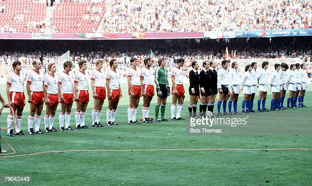 World Cup Finals SemiFinal Barcelona Spain 8th July Italy 2 v Poland 0 The two teams line up before the match