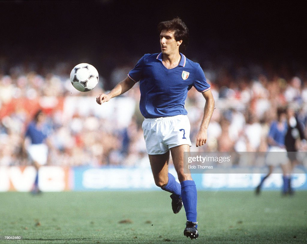 1982 World Cup Finals. Semi-Final. Barcelona, Spain. 8th July, 1982. Italy 2 v Poland 0. Italy's Gaetano Scirea. : News Photo