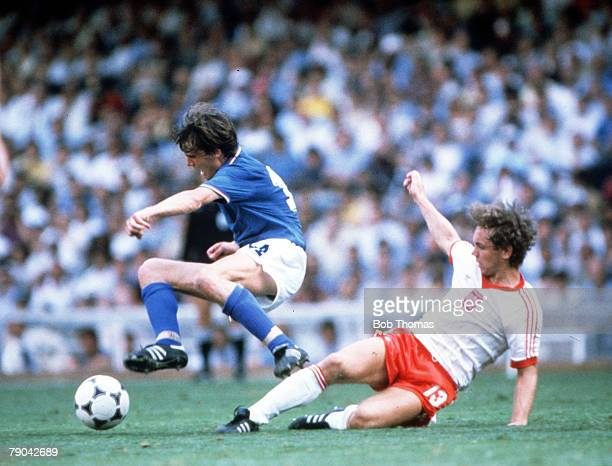 World Cup Finals SemiFinal Barcelona Spain 8th July Italy 2 v Poland 0 Italy's Antonio Cabrini is tackled by Poland's Andrzej Buncol