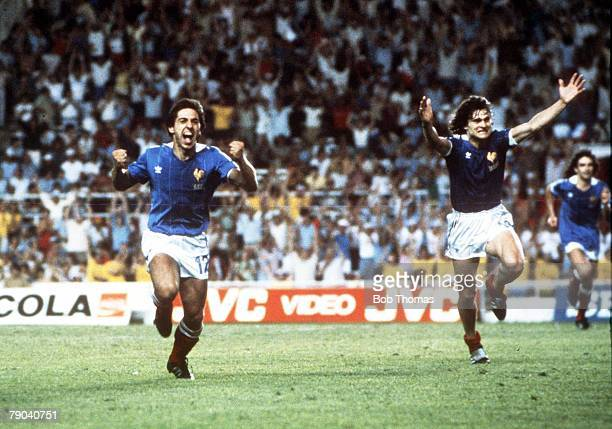 World Cup Finals, Semi-Final, Seville, Spain, 8th July West Germany 3 v France 3, , France's Alain Giresse races away to celebrate after scoring his...