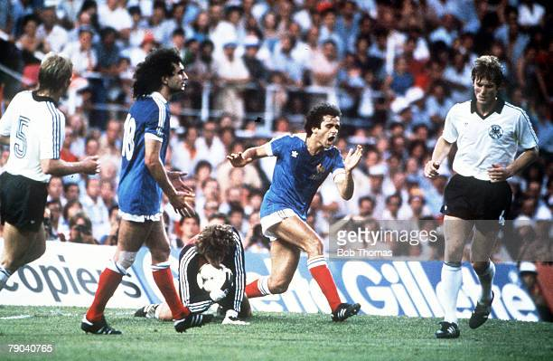 World Cup Finals, Semi-Final, Seville, Spain, 8th July West Germany 3 v France 3, , West Germany's goalkeeper Harald Schumacher saves at the feet of...