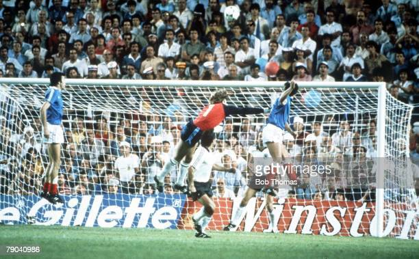 World Cup Finals, Semi-Final, Seville, Spain, 8th July West Germany 3 v France 3, , West Germany's goalkeeper Harald Schumacher punches clear a...