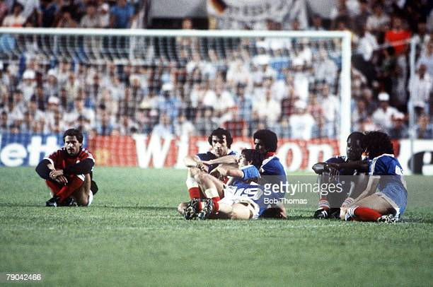 World Cup Finals SemiFinal Seville Spain 8th July West Germany 3 v France 3 French players can only watch the penalty shootout in despair
