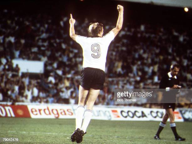 World Cup Finals, Semi-Final, Seville, Spain, 8th July West Germany 3 v France 3, , West Germany's Horst Hrubesch celebrates after he scored the...