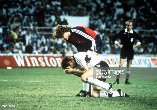 World Cup Finals SemiFinal Seville Spain 8TH JULY West Germany 3 v France 3 West Germany's Uli Stielike is consoled by his goalkeeper Harald...