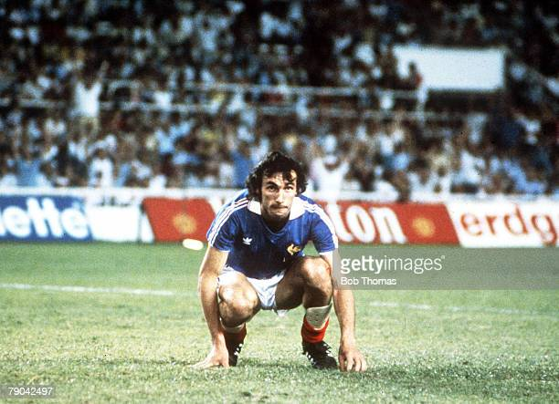 World Cup Finals SemiFinal Seville Spain 8th July West Germany 3 v France 3 France's Maxime Bossis sinks to his knees after missing his penalty in...