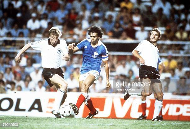 World Cup Finals SemiFinal Seville Spain 8th July West Germany 3 v France 3 West Germany's Bernd Foerster challenges France's Michel Platini