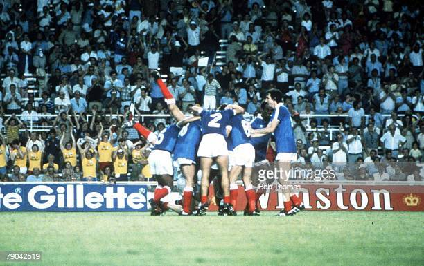 World Cup Finals, Semi-Final, Seville, Spain, 8th July West Germany 3 v France 3, , French players celebrate their second goal, scored by Marius...