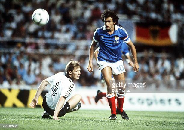 World Cup Finals SemiFinal Seville Spain 8th July West Germany 3 v France 3 West Germany's Karl Heinz Foerster is beaten by France's Michel Platini