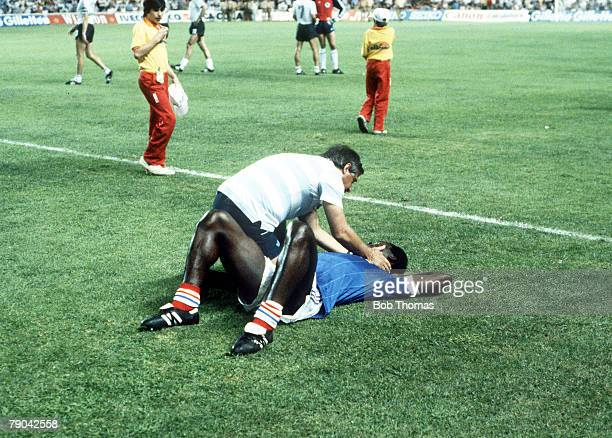 World Cup Finals SemiFinal Seville Spain 8th July West Germany 3 v France 3 France's Marius Tresor is spoken to by manager Michel Hidlago during the...