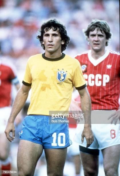 World Cup Finals Seville Spain 14th June Brazil 2 v USSR 1 Brazil's Zico