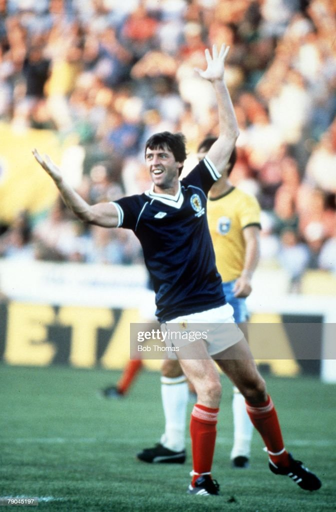 1982 World Cup Finals. Seville, Spain. 18th June, 1982. Brazil 4 v Scotland 1. Scotland's David Narey celebrates after scoring Scotland's only goal. : News Photo