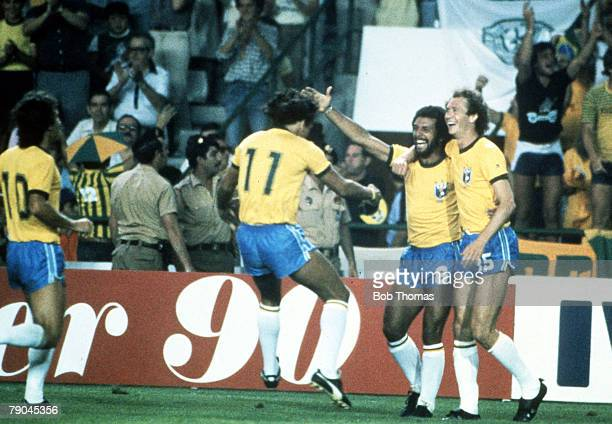 World Cup Finals Seville Spain 18th June Brazil 4 v Scotland 1 Brazil's LR Zico Eder Junior and Falcao celebrate their third goal