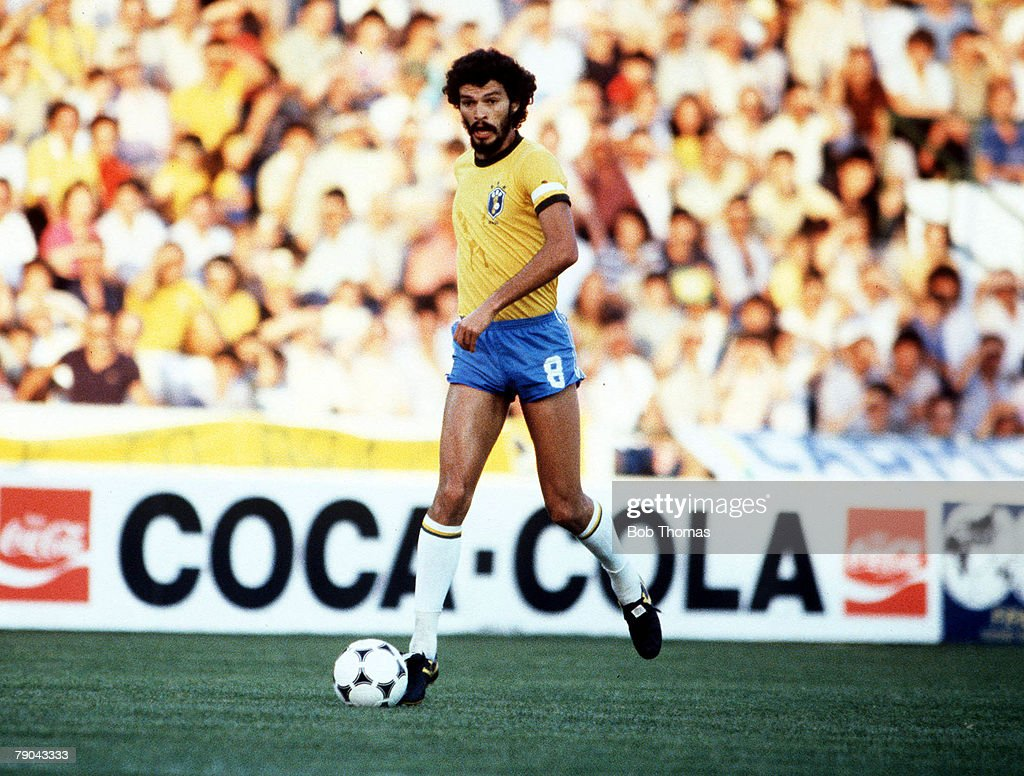 1982 World Cup Finals. Seville, Spain. 23rd June, 1982. Brazil 4 v New Zealand 0. Brazil's Socrates : News Photo