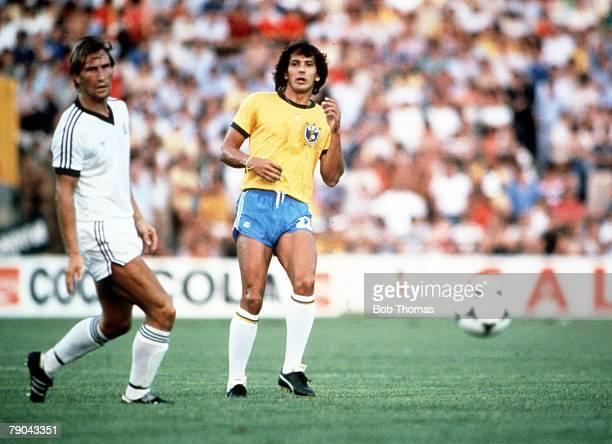 World Cup Finals Seville Spain 23rd June Brazil 4 v New Zealand 0 Brazil's Eder beats New Zealand's Alan Boath to the ball