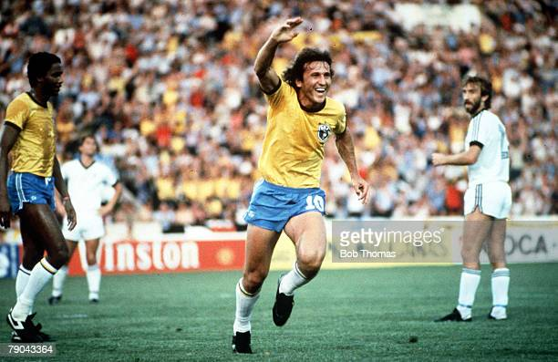 World Cup Finals Seville Spain 23rd June Brazil 4 v New Zealand 0 Brazil's Zico celebrates after scoring the first goal