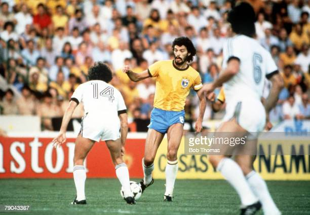 World Cup Finals Seville Spain 23rd June Brazil 4 v New Zealand 0 Brazil's Socrates is faced by New Zealand's Adrian Elrick
