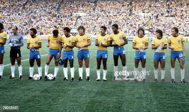 World Cup Finals Seville Spain 23rd June Brazil 4 v New Zealand 0 The Brazilian team line up before the match
