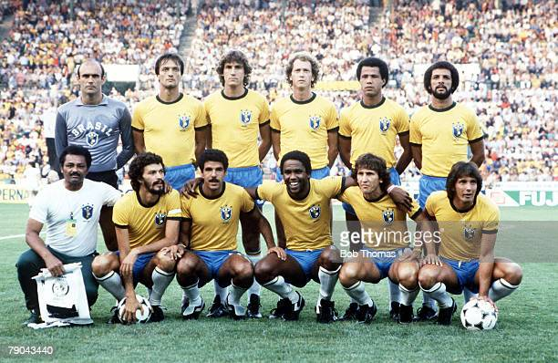 World Cup Finals Seville Spain 23rd June Brazil 4 v New Zealand 0 The Brazilian team group before the match