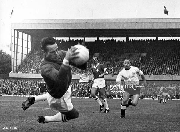 World Cup Finals Sheffield England 12th July West Germany 5 v Switzerland 0 Swiss goalkeeper Karl Elsener saves a shot from a West German forward as...