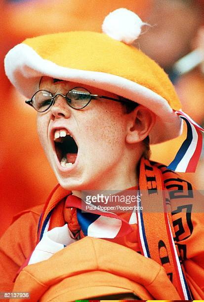 World Cup Finals St Denis France 11th JULY 1998 Third Place PlayOff Croatia 2 v Holland 1 A young Dutch fan cheers his team on